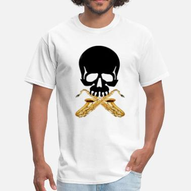 Saxophonist Skull with Saxophones - Men's T-Shirt