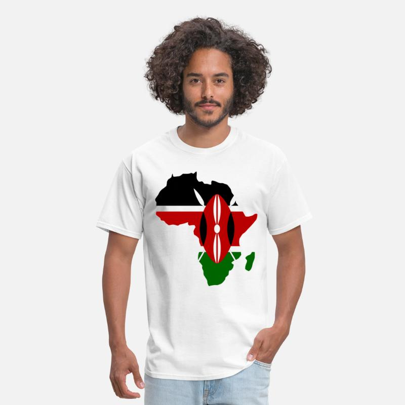 Africa Map T-shirt T-Shirts - Kenya Flag Aafrica Map - Men's T-Shirt white
