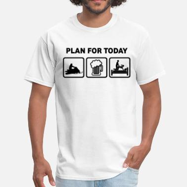 Funny Snowmobile Plan For Today Snowmobiling  - Men's T-Shirt