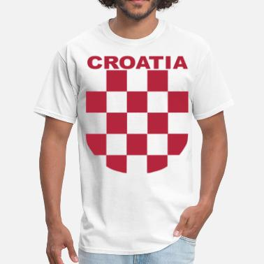 Hrvatska Croatia Sahovnica Croatia Šahovnica grb white shirt red - Men's T-Shirt