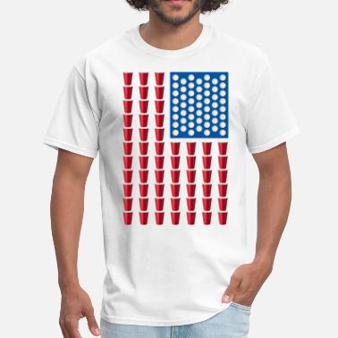 4th Of July Beer Pong Drinking Game American Flag - Men's T-Shirt