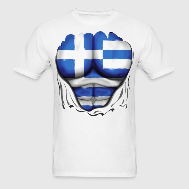 Greece Flag Ripped Muscles, six pack, chest t-shir - Men's T-Shirt
