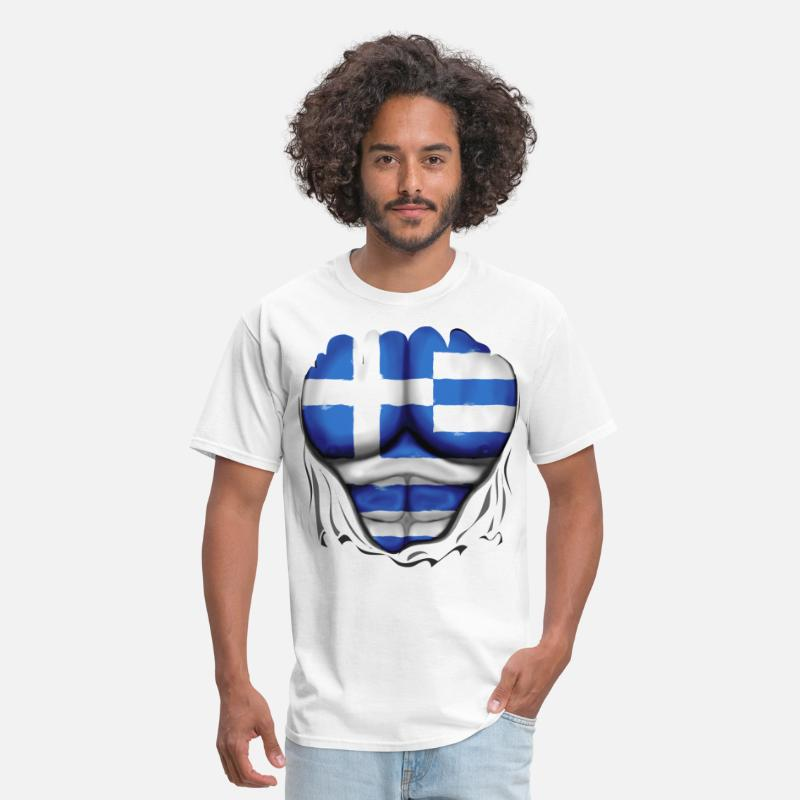 Greece T-Shirts - Greece Flag Ripped Muscles, six pack, chest t-shir - Men's T-Shirt white
