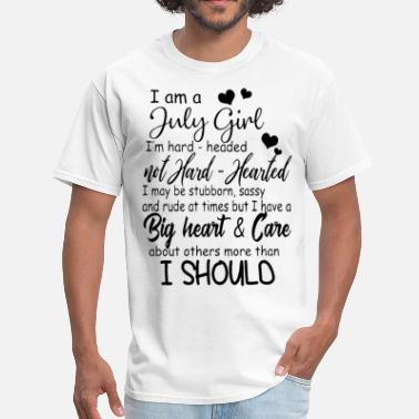 I Love Head Heart i am an july girl i am hard headed not hard hearte - Men's T-Shirt