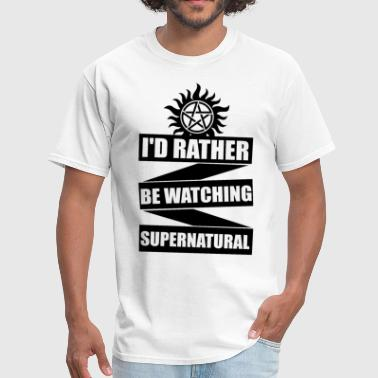 I d Rather Be Watching Supernatural Jersey Tee Sup - Men's T-Shirt