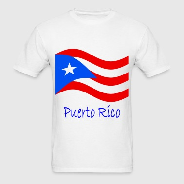 Waving Puerto Rico Flag And Name - Men's T-Shirt