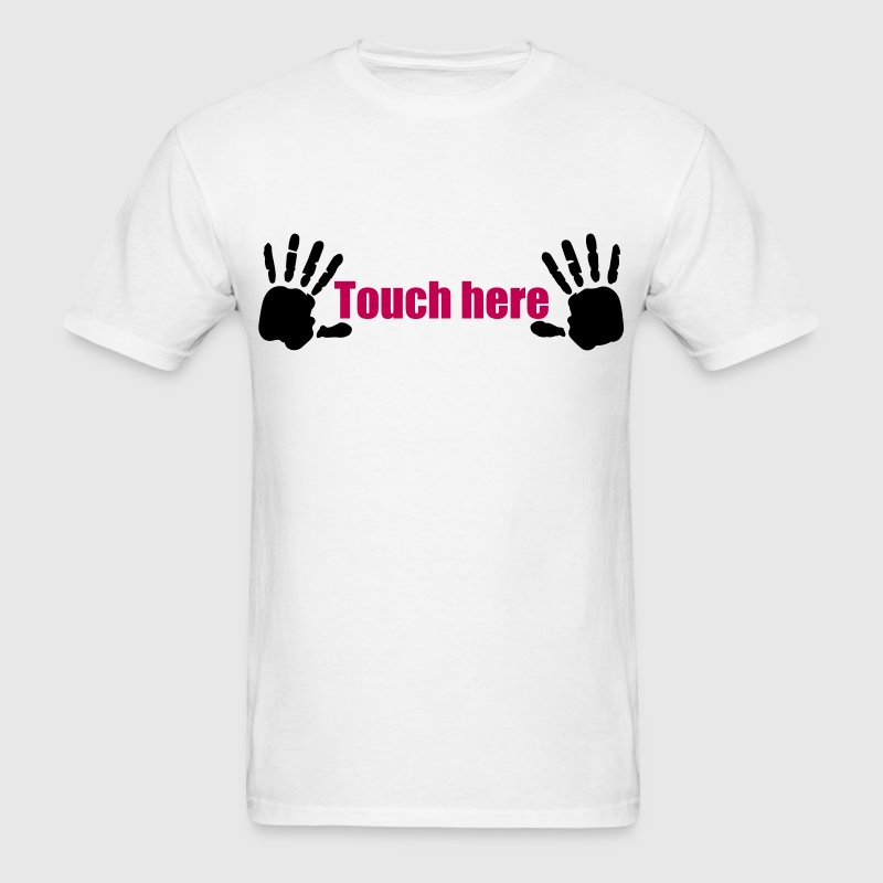 Hands here Touch here Hand Print 2c - Men's T-Shirt