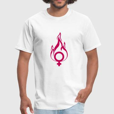 Hot Girls hot pink venus female symbol girl on fire fire fla - Men's T-Shirt