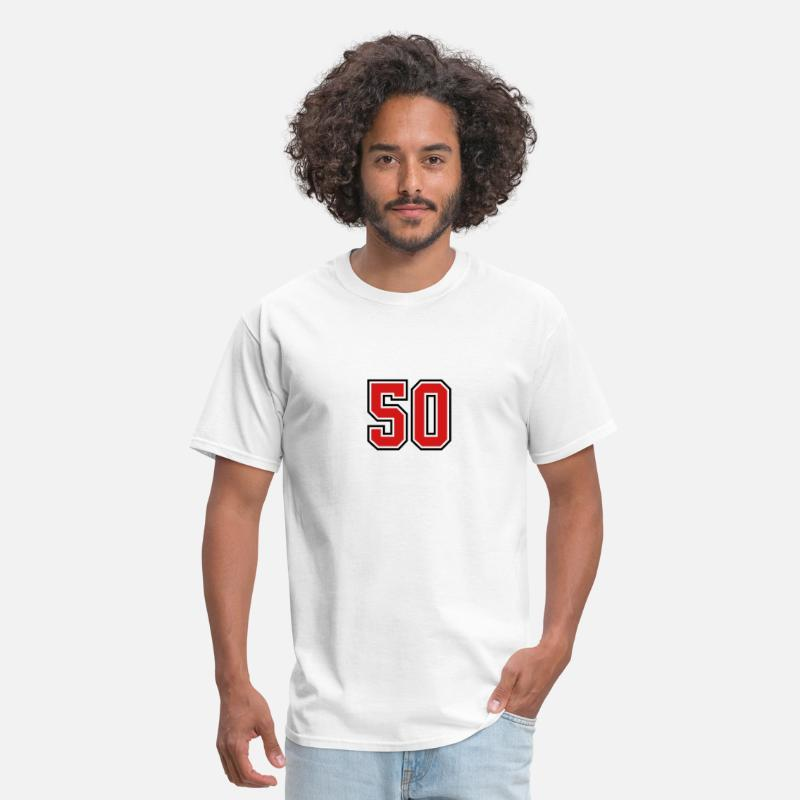 Birthday T-Shirts - 50 sports jersey football number - Men's T-Shirt white