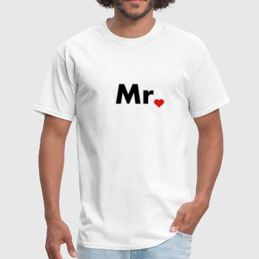 Mr with heart dot - part of Mr and Mrs set - Men's T-Shirt