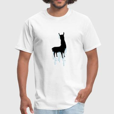 drop graffiti spray silhouette black outline lama - Men's T-Shirt