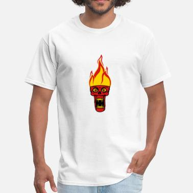 Hell Fire monster hell evil horror halloween head face zombi - Men's T-Shirt
