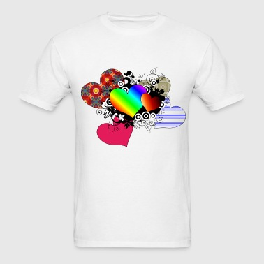 Hearts in multi color - Men's T-Shirt