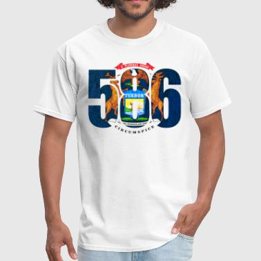 586 Michigan Area Code Flag - Men's T-Shirt