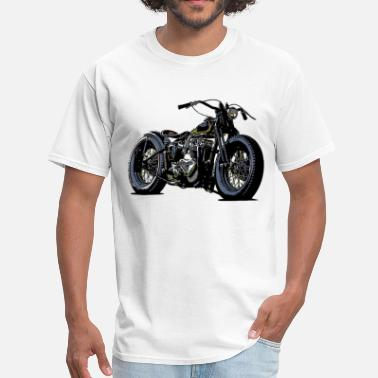 Motorcycle Vintage motorcycle sketch in black - Men's T-Shirt