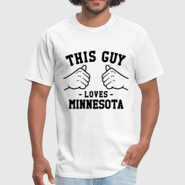 I Love Mn This Guy Loves Minnesota MN Home State Football Sp - Men's T-Shirt