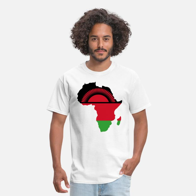Africa Map T-shirt Designs T-Shirts - Malawi Flag In Africa Map - Men's T-Shirt white