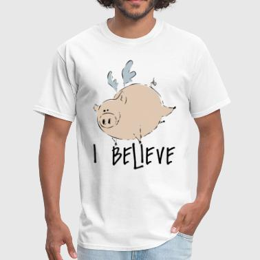 Pink Flying Pig Flying Pig Flying Pig I believe Pig Lovers Funny P - Men's T-Shirt