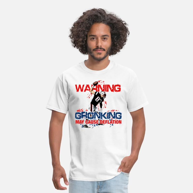 Football T-Shirts - Warning Gronking May Cause Deflation - Men's T-Shirt white