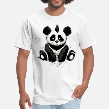 Black Inked Panda Bear - Men's T-Shirt