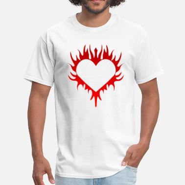 Heart-in-flames-hearts Flaming Heart - Men's T-Shirt