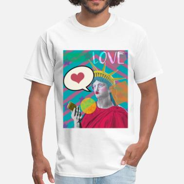 Social Media Trending Lady Liberty Social Media Love PopArt - Men's T-Shirt