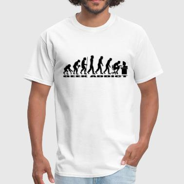 Evolution Of Man Geek evolution of man geek addict - Men's T-Shirt