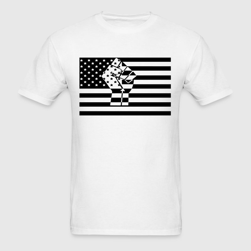 American Flag Raised Fist Black Power - Men's T-Shirt