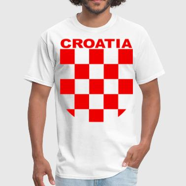 croatia sahovnica grb red, shirt white - Men's T-Shirt