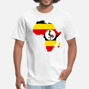 Uganda Map Uganda Flag In Africa Map - Men's T-Shirt