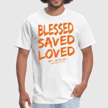 Cool Christian BLESSED SAVED LOVED - Men's T-Shirt