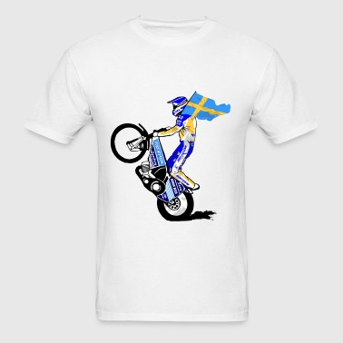 Speedway driver with swedish flag - Men's T-Shirt