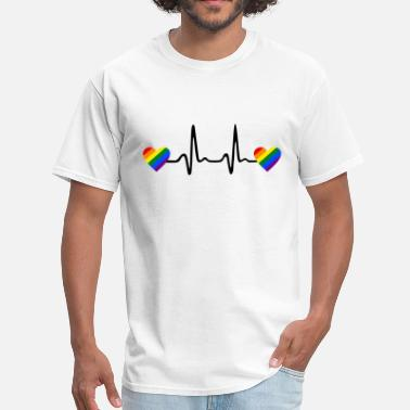 Rainbow Heartbeat Rainbow Hearts and Heartbeat, Gay ECG - Men's T-Shirt