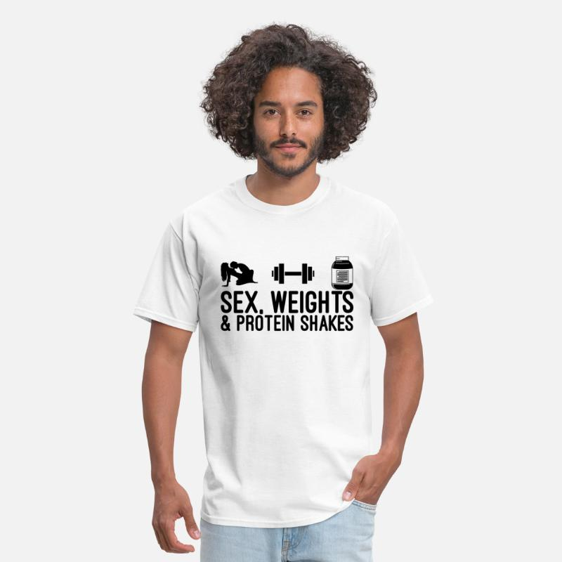 Protein T-Shirts - Sex, Weights and Protein Shakes - Men's T-Shirt white