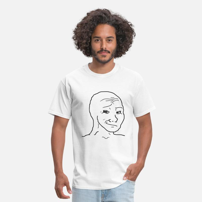 Funny T-Shirts - Smug Wojak - Men's T-Shirt white