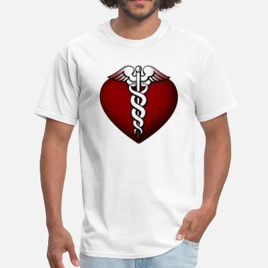 Glowing Heart & Caduceus Symbol - Men's T-Shirt