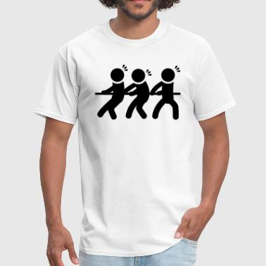 Stickfigure Quotes Tug of War Pulling Rope Stickfigures - Men's T-Shirt
