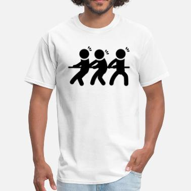 Stickfigure Drawing Tug of War Pulling Rope Stickfigures - Men's T-Shirt