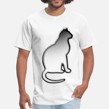 Black To White Gradient Silver Cat - Men's T-Shirt