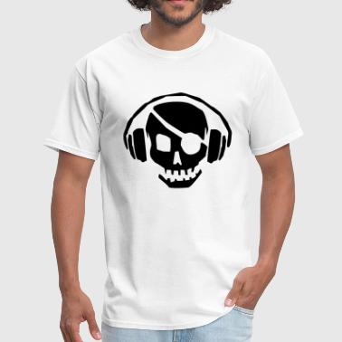 Death Headphones A dead skull/skeleton wearing headphones listening to the pulse and beats - Men's T-Shirt