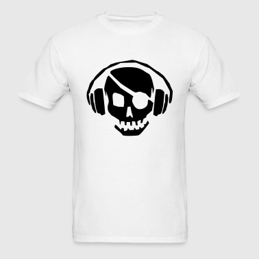 A dead skull/skeleton wearing headphones listening to the pulse and beats - Men's T-Shirt