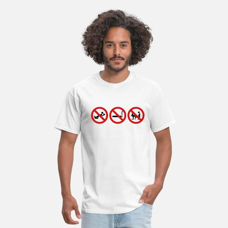 Sex Drugs Alcohol T-Shirts - Staight Edge - No drinking, no drugs no fucking ar - Men's T-Shirt white