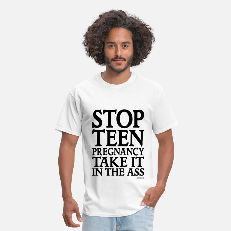 Pixellamb T-Shirts - Stop Teen Pregnancy Take it in the Ass, Pixellamb - Men's T-Shirt white
