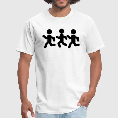 Stickfigure Quotes Stickfigures Running Away - Men's T-Shirt