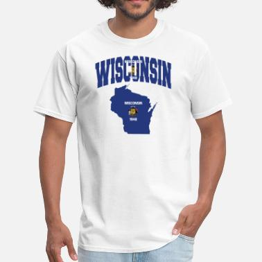 Wisconsin State Map Wisconsin Flag Map - Men's T-Shirt