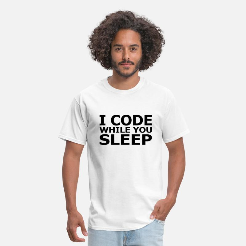 Hacker T-Shirts - I Code While You Sleep - Men's T-Shirt white