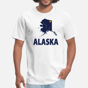 Alaska Flag Alaska Flag Alaska Map - Men's T-Shirt