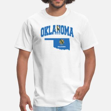 Oklahoma State Map Oklahoma Flag Map - Men's T-Shirt