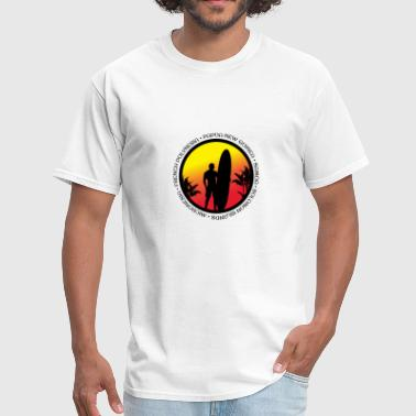 The South Pacific South Pacific Surfing Cool Sunset Surfer Palm Tree - Men's T-Shirt