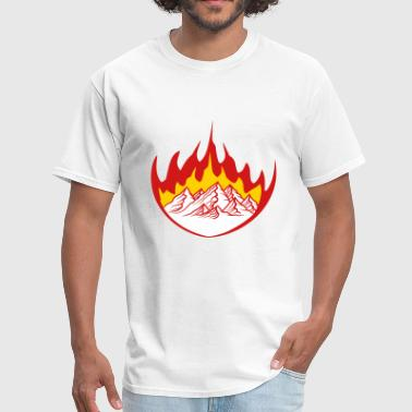 Flames white hot fire flames burning mountains hill alps - Men's T-Shirt